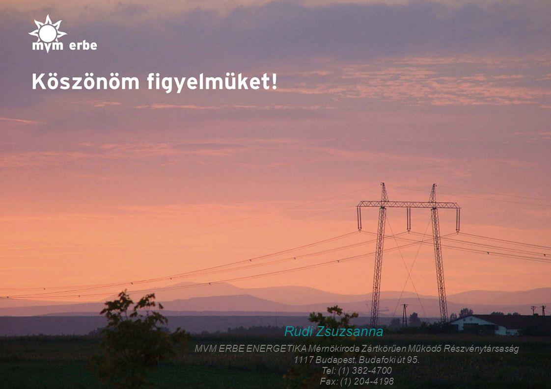 18 Rudi Zsuzsanna MVM ERBE ENERGETIKA Mérnökiroda Zártkörűen Működő Részvénytársaság 1117 Budapest, Budafoki út 95. Tel: (1) 382-4700 Fax: (1) 204-419