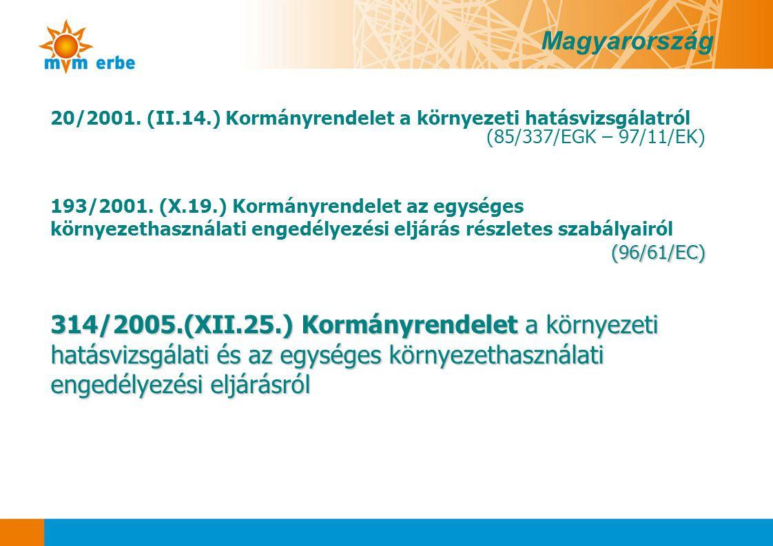 20/2001. (II.14.) Kormányrendelet a környezeti hatásvizsgálatról (85/337/EGK – 97/11/EK) 193/2001. (X.19.) Kormányrendelet az egységes környezethaszná