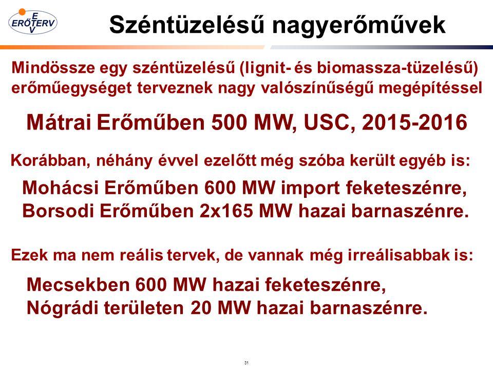 31 Széntüzelésű nagyerőművek Mindössze egy széntüzelésű (lignit- és biomassza-tüzelésű) erőműegységet terveznek nagy valószínűségű megépítéssel Mátrai Erőműben 500 MW, USC, 2015-2016 Korábban, néhány évvel ezelőtt még szóba került egyéb is: Mohácsi Erőműben 600 MW import feketeszénre, Borsodi Erőműben 2x165 MW hazai barnaszénre.