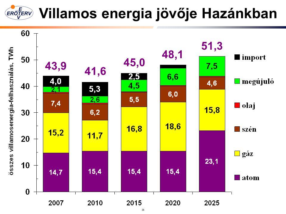 35 43,9 41,6 45,0 48,1 51,3 Villamos energia jövője Hazánkban