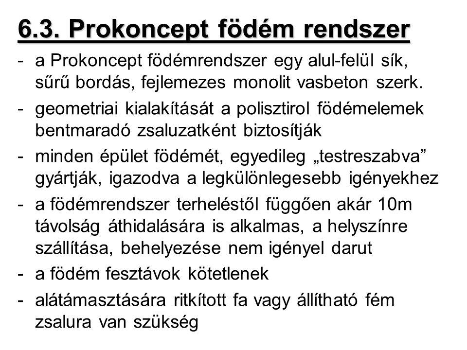 6.3. Prokoncept födém rendszer -a Prokoncept födémrendszer egy alul-felül sík, sűrű bordás, fejlemezes monolit vasbeton szerk. -geometriai kialakításá