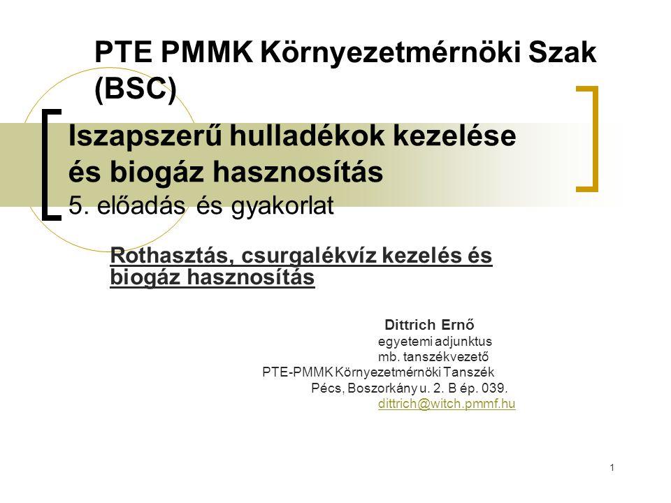 1 Iszapszerű hulladékok kezelése és biogáz hasznosítás 5. előadás és gyakorlat Rothasztás, csurgalékvíz kezelés és biogáz hasznosítás Dittrich Ernő eg