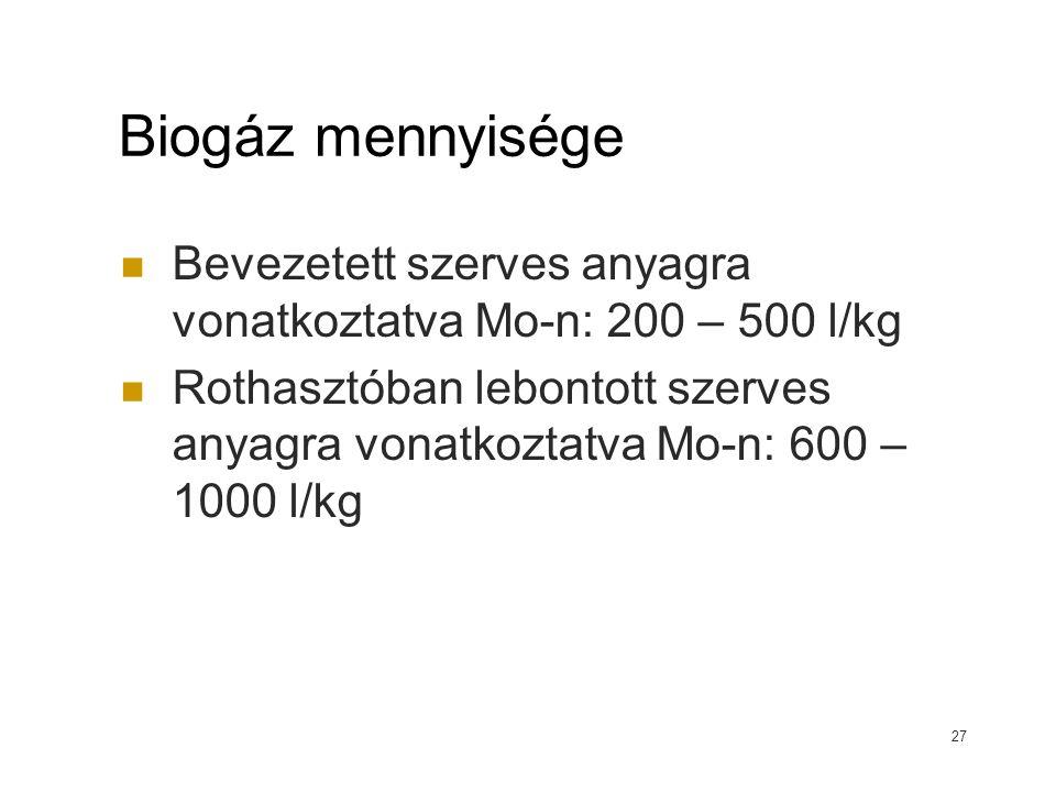 Biogáz mennyisége Bevezetett szerves anyagra vonatkoztatva Mo-n: 200 – 500 l/kg Rothasztóban lebontott szerves anyagra vonatkoztatva Mo-n: 600 – 1000 l/kg 27