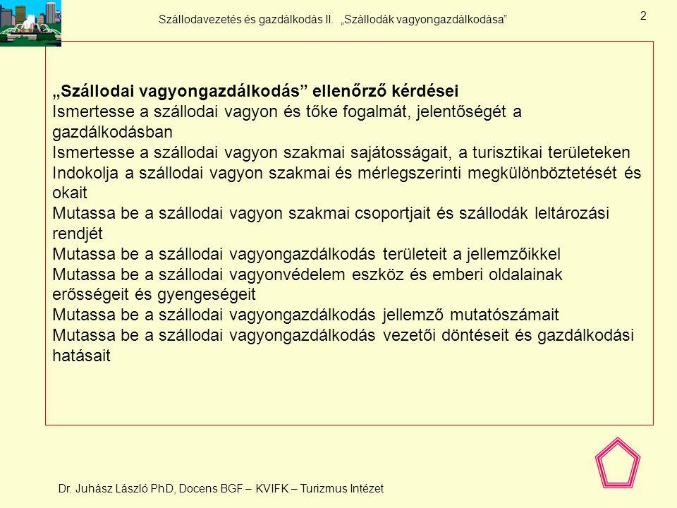 """Szállodavezetés és gazdálkodás II. """"Szállodák vagyongazdálkodása"""" Dr. Juhász László PhD, Docens BGF – KVIFK – Turizmus Intézet 1 12. Vagyongazdálkodás"""