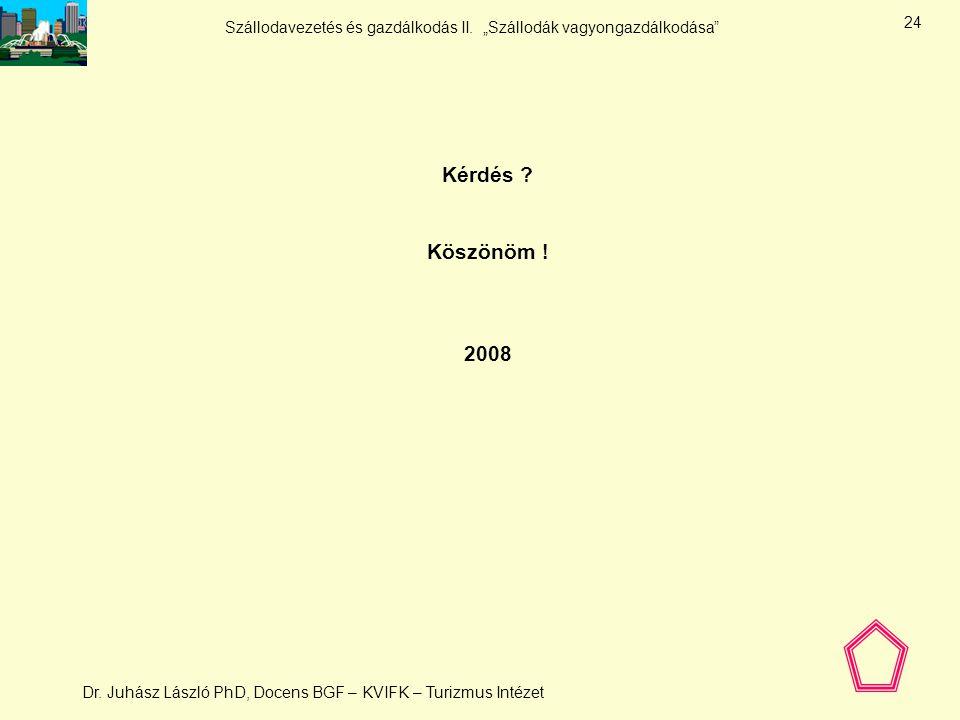 """Szállodavezetés és gazdálkodás II. """"Szállodák vagyongazdálkodása"""" Dr. Juhász László PhD, Docens BGF – KVIFK – Turizmus Intézet 23 Vagyongazdálkodás -"""