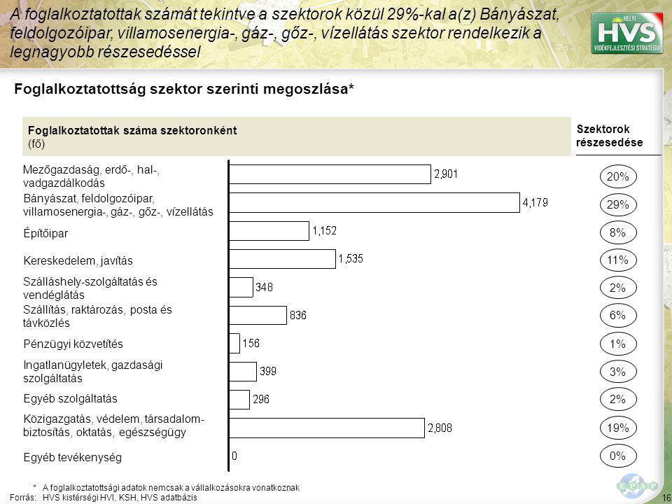 16 Foglalkoztatottság szektor szerinti megoszlása* A foglalkoztatottak számát tekintve a szektorok közül 29%-kal a(z) Bányászat, feldolgozóipar, villamosenergia-, gáz-, gőz-, vízellátás szektor rendelkezik a legnagyobb részesedéssel *A foglalkoztatottsági adatok nemcsak a vállalkozásokra vonatkoznak Forrás:HVS kistérségi HVI, KSH, HVS adatbázis Foglalkoztatottak száma szektoronként (fő) Mezőgazdaság, erdő-, hal-, vadgazdálkodás Bányászat, feldolgozóipar, villamosenergia-, gáz-, gőz-, vízellátás Építőipar Kereskedelem, javítás Szálláshely-szolgáltatás és vendéglátás Szállítás, raktározás, posta és távközlés Pénzügyi közvetítés Ingatlanügyletek, gazdasági szolgáltatás Egyéb szolgáltatás Közigazgatás, védelem, társadalom- biztosítás, oktatás, egészségügy Szektorok részesedése 20% 29% 11% 2% 6% 3% 2% 19% 8% 1% Egyéb tevékenység 0%