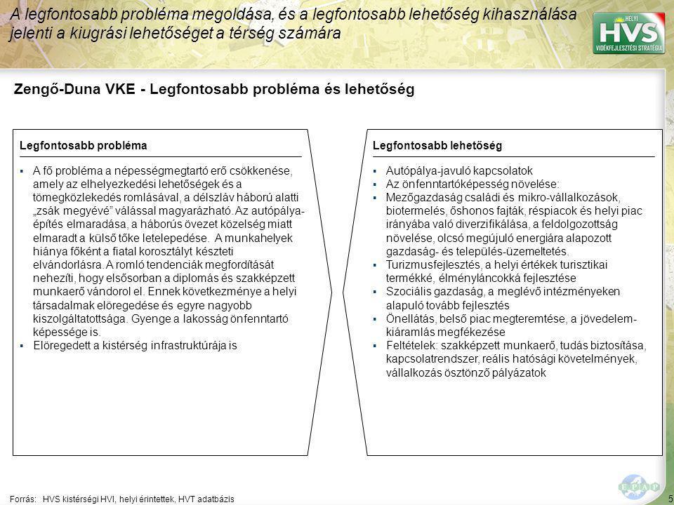 """5 Zengő-Duna VKE - Legfontosabb probléma és lehetőség A legfontosabb probléma megoldása, és a legfontosabb lehetőség kihasználása jelenti a kiugrási lehetőséget a térség számára Forrás:HVS kistérségi HVI, helyi érintettek, HVT adatbázis Legfontosabb problémaLegfontosabb lehetőség ▪A fő probléma a népességmegtartó erő csökkenése, amely az elhelyezkedési lehetőségek és a tömegközlekedés romlásával, a délszláv háború alatti """"zsák megyévé válással magyarázható."""