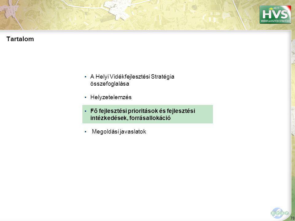 78 Tartalom ▪A Helyi Vidékfejlesztési Stratégia összefoglalása ▪Helyzetelemzés ▪Fő fejlesztési prioritások és fejlesztési intézkedések, forrásallokáció ▪ Megoldási javaslatok