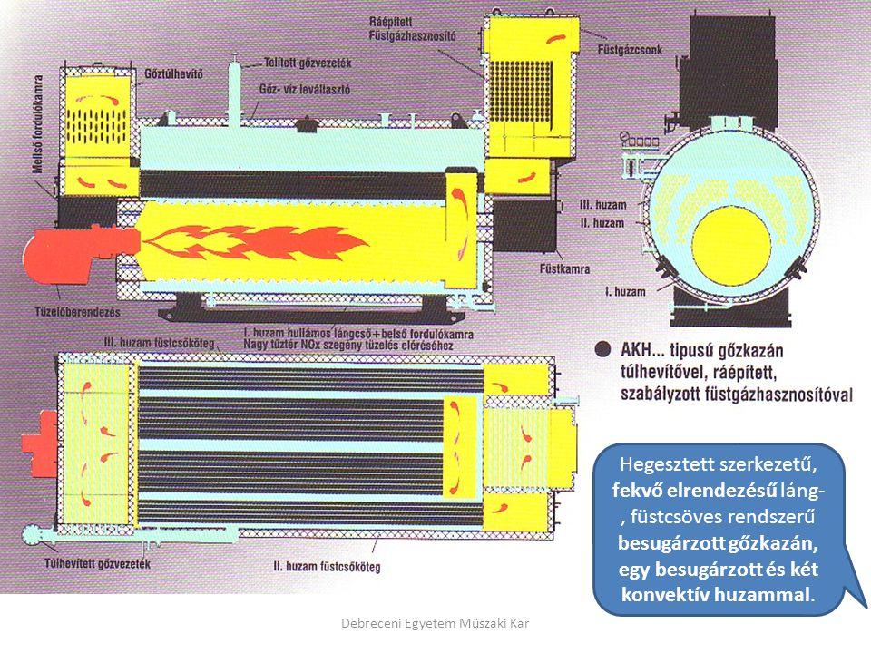 Debreceni Egyetem Műszaki Kar Hegesztett szerkezetű, fekvő elrendezésű láng-, füstcsöves rendszerű besugárzott gőzkazán, egy besugárzott és két konvek