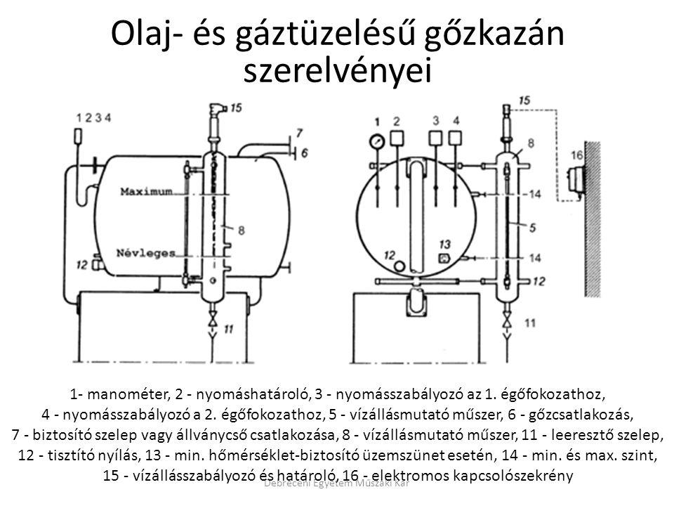 Debreceni Egyetem Műszaki Kar Olaj- és gáztüzelésű gőzkazán szerelvényei 1- manométer, 2 - nyomáshatároló, 3 - nyomásszabályozó az 1. égőfokozathoz, 4