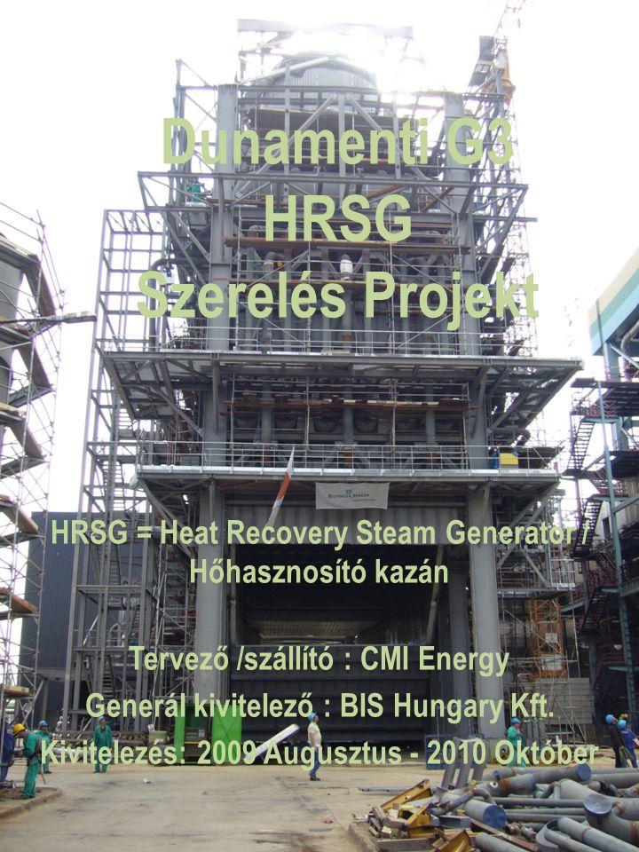 Dunamenti G3 HRSG Szerelés Projekt HRSG = Heat Recovery Steam Generator / Hőhasznosító kazán Tervező /szállító : CMI Energy Generál kivitelező : BIS H