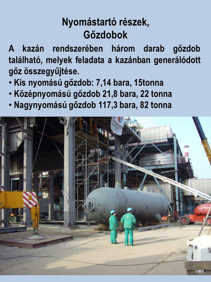 Nyomástartó részek, Gőzdobok A kazán rendszerében három darab gőzdob található, melyek feladata a kazánban generálódott gőz összegyűjtése. Kis nyomású