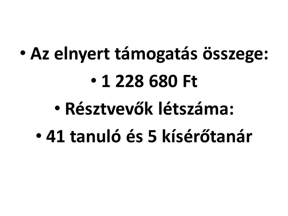 Az elnyert támogatás összege: 1 228 680 Ft Résztvevők létszáma: 41 tanuló és 5 kísérőtanár