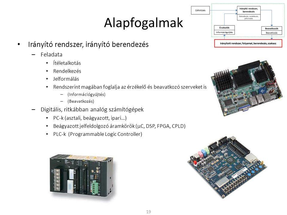 Alapfogalmak Irányító rendszer, irányító berendezés – Feladata Ítéletalkotás Rendelkezés Jelformálás Rendszerint magában foglalja az érzékelő és beavatkozó szerveket is – (Információgyűjtés) – (Beavatkozás) – Digitális, ritkábban analóg számítógépek PC-k (asztali, beágyazott, ipari…) Beágyazott jelfeldolgozó áramkörök (  C, DSP, FPGA, CPLD) PLC-k (Programmable Logic Controller) 19