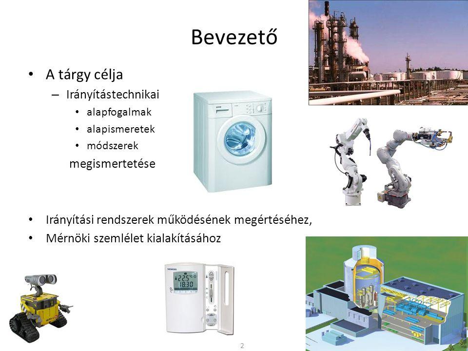 Bevezető A tárgy célja – Irányítástechnikai alapfogalmak alapismeretek módszerek megismertetése Irányítási rendszerek működésének megértéséhez, Mérnöki szemlélet kialakításához 2