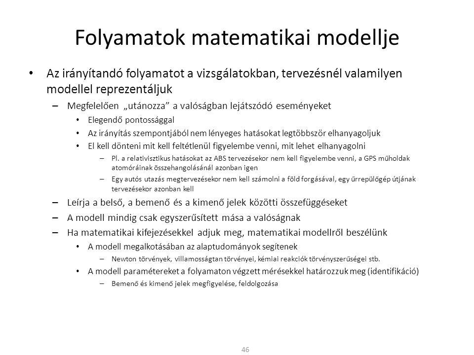 """Folyamatok matematikai modellje Az irányítandó folyamatot a vizsgálatokban, tervezésnél valamilyen modellel reprezentáljuk – Megfelelően """"utánozza a valóságban lejátszódó eseményeket Elegendő pontossággal Az irányítás szempontjából nem lényeges hatásokat legtöbbször elhanyagoljuk El kell dönteni mit kell feltétlenül figyelembe venni, mit lehet elhanyagolni – Pl."""