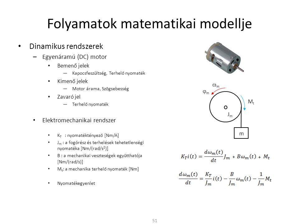 Dinamikus rendszerek – Egyenáramú (DC) motor Bemenő jelek ―Kapocsfeszültség, Terhelő nyomaték Kimenő jelek ―Motor árama, Szögsebesség Zavaró jel ―Terhelő nyomaték Elektromechanikai rendszer K T : nyomatéktényező [Nm/A] J m : a fogórész és terhelések tehetetlenségi nyomatéka [Nm/(rad/s 2 )] B : a mechanikai veszteségek együtthatója [Nm/(rad/s)] M t : a mechanika terhelő nyomaték [Nm] Nyomatékegyenlet Folyamatok matematikai modellje 51 mm mm MtMt JmJm m