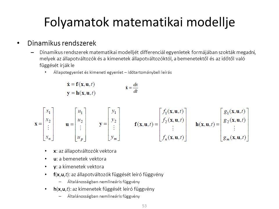 Dinamikus rendszerek – Dinamikus rendszerek matematikai modelljét differenciál egyenletek formájában szokták megadni, melyek az állapotváltozók és a kimenetek állapotváltozóktól, a bemenetektől és az időtől való függését írják le Állapotegyenlet és kimeneti egyenlet – időtartománybeli leírás x: az állapotváltozók vektora u: a bemenetek vektora y: a kimenetek vektora f(x,u,t): az állapotváltozók függését leíró függvény – Általánosságban nemlineáris függvény h(x,u,t): az kimenetek függését leíró függvény – Általánosságban nemlineáris függvény Folyamatok matematikai modellje 53