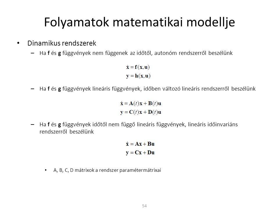 Dinamikus rendszerek – Ha f és g függvények nem függenek az időtől, autonóm rendszerről beszélünk – Ha f és g függvények lineáris függvények, időben változó lineáris rendszerről beszélünk – Ha f és g függvények időtől nem függő lineáris függvények, lineáris időinvariáns rendszerről beszélünk A, B, C, D mátrixok a rendszer paramétermátrixai Folyamatok matematikai modellje 54