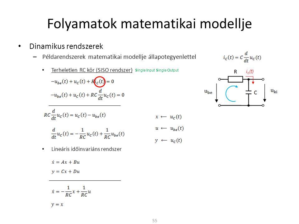 Dinamikus rendszerek – Példarendszerek matematikai modellje állapotegyenlettel Folyamatok matematikai modellje 55 Terheletlen RC kör (SISO rendszer) Lineáris időinvariáns rendszer i c (t) Single Input Single Output