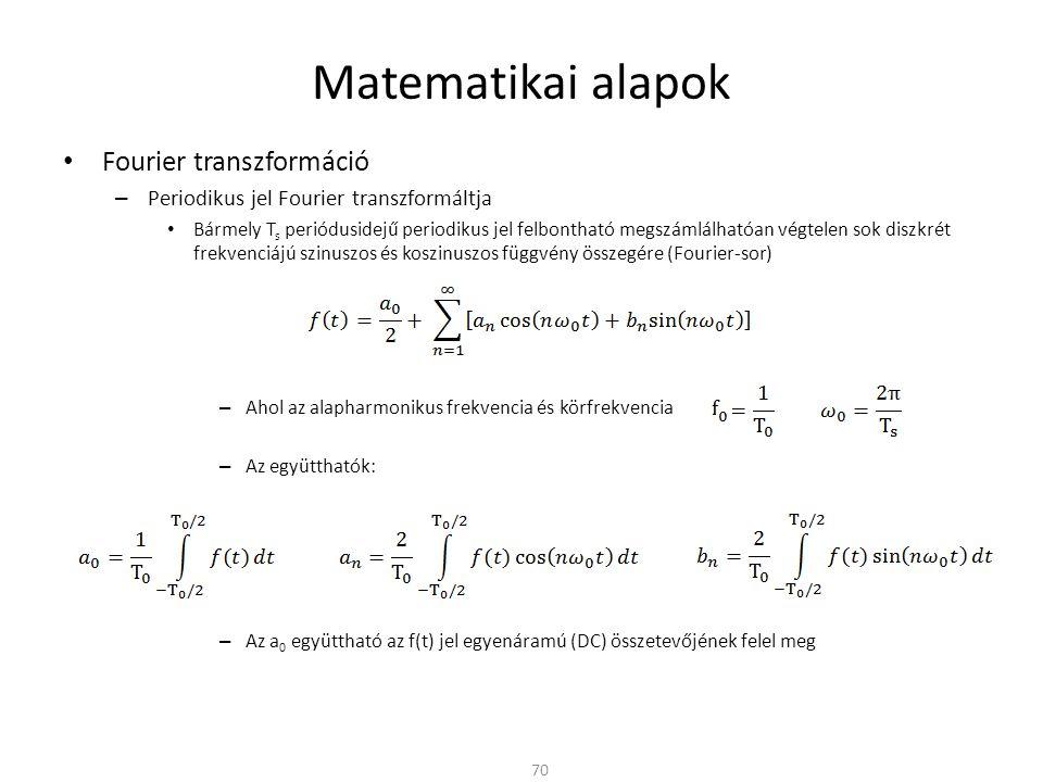 Matematikai alapok Fourier transzformáció – Periodikus jel Fourier transzformáltja Bármely T s periódusidejű periodikus jel felbontható megszámlálhatóan végtelen sok diszkrét frekvenciájú szinuszos és koszinuszos függvény összegére (Fourier-sor) – Ahol az alapharmonikus frekvencia és körfrekvencia – Az együtthatók: – Az a 0 együttható az f(t) jel egyenáramú (DC) összetevőjének felel meg 70