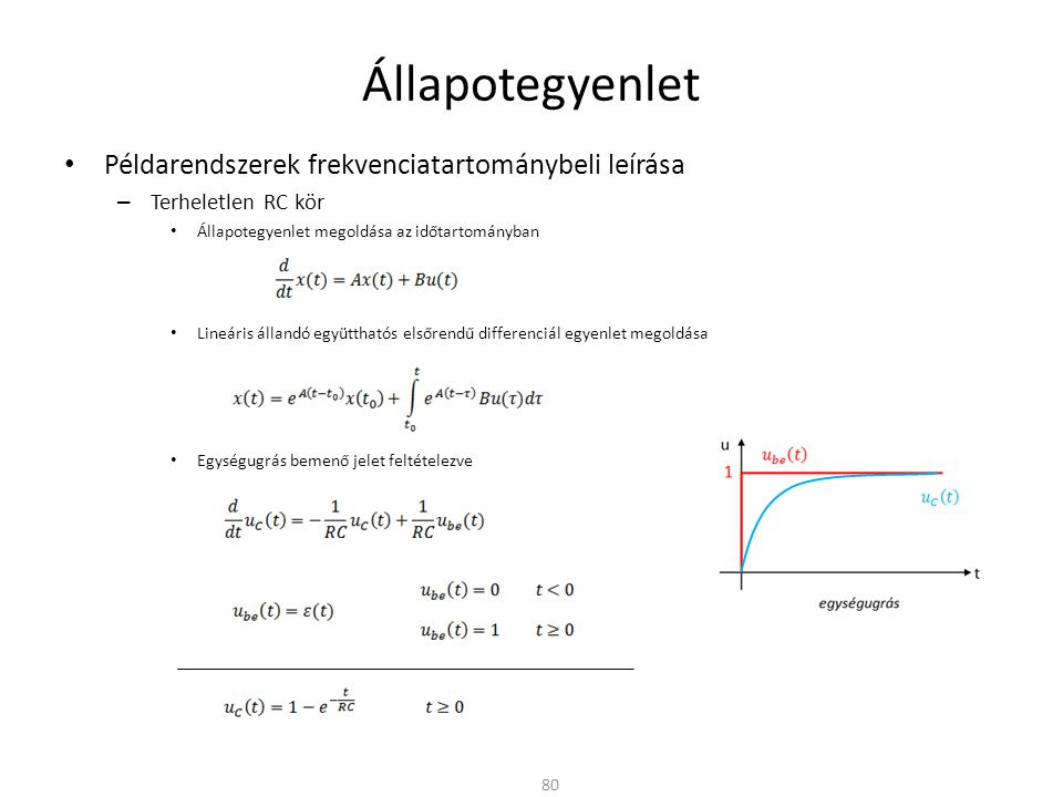 Állapotegyenlet Példarendszerek frekvenciatartománybeli leírása – Terheletlen RC kör Állapotegyenlet megoldása az időtartományban Lineáris állandó együtthatós elsőrendű differenciál egyenlet megoldása Egységugrás bemenő jelet feltételezve 80
