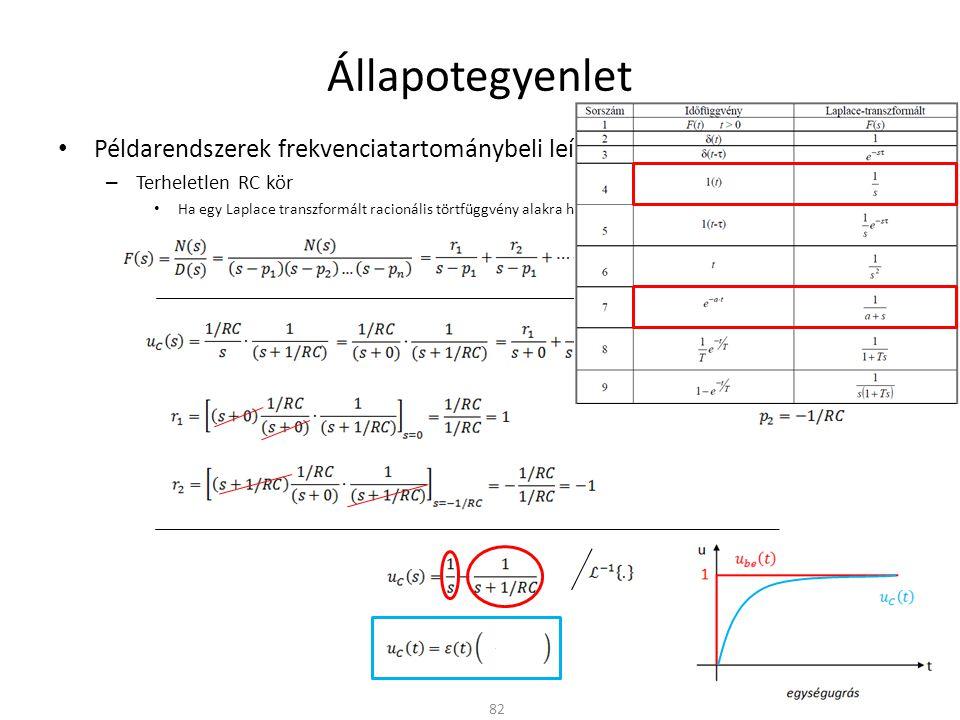 Állapotegyenlet Példarendszerek frekvenciatartománybeli leírása – Terheletlen RC kör Ha egy Laplace transzformált racionális törtfüggvény alakra hozható, akkor részlettörtekre bontható 82 A rendszer pólusai: