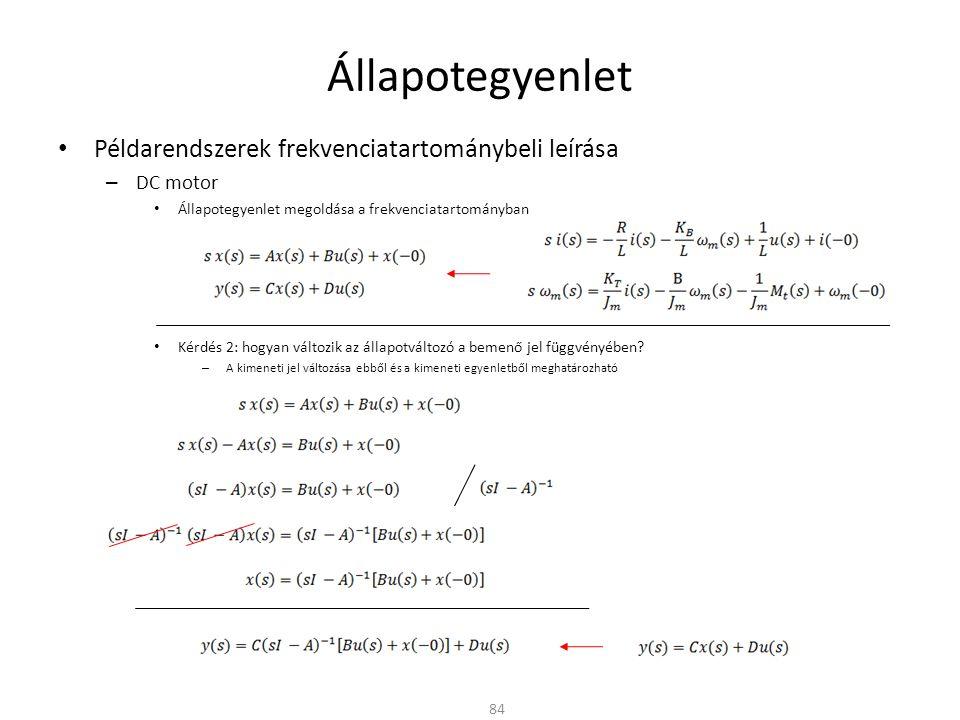 Állapotegyenlet Példarendszerek frekvenciatartománybeli leírása – DC motor Állapotegyenlet megoldása a frekvenciatartományban Kérdés 2: hogyan változik az állapotváltozó a bemenő jel függvényében.