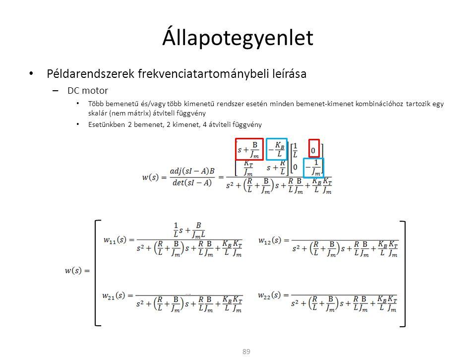 Állapotegyenlet Példarendszerek frekvenciatartománybeli leírása – DC motor Több bemenetű és/vagy több kimenetű rendszer esetén minden bemenet-kimenet kombinációhoz tartozik egy skalár (nem mátrix) átviteli függvény Esetünkben 2 bemenet, 2 kimenet, 4 átviteli függvény 89