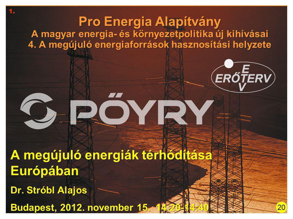 Pro Energia Alapítvány A magyar energia- és környezetpolitika új kihívásai 4. A megújuló energiaforrások hasznosítási helyzete A megújuló energiák tér