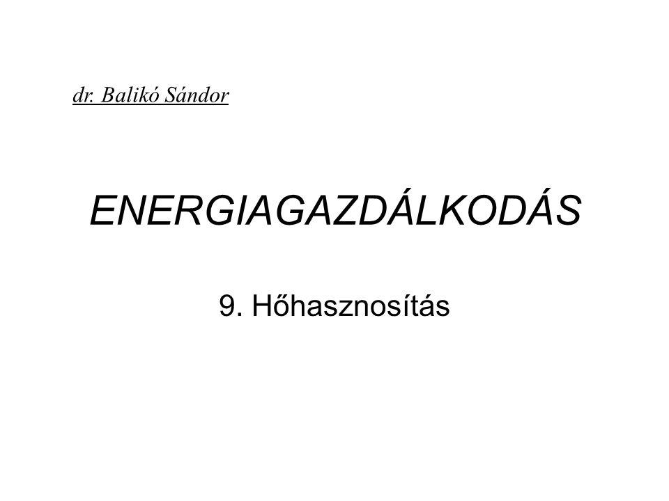 ENERGIAGAZDÁLKODÁS 9. Hőhasznosítás dr. Balikó Sándor