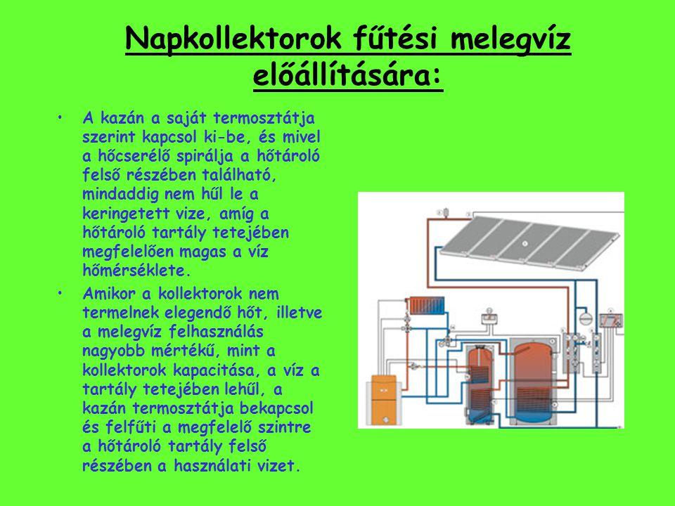 Napkollektorok használati melegvíz előállítására: A kollektorokról a felmelegedett víz a szabályzón keresztül a hőtároló hőcserélőjébe jut. A szabályz