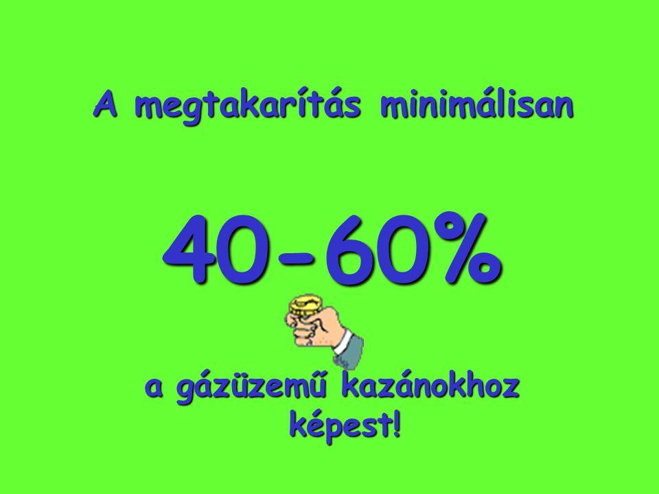 A megtakarítás minimálisan 40-60% a gázüzemű kazánokhoz képest!
