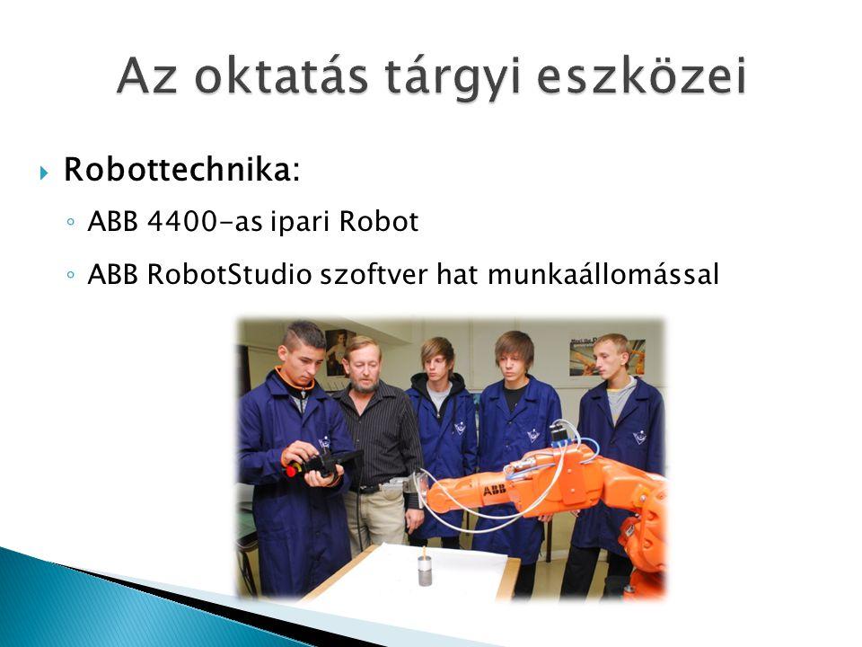  Robottechnika: ◦ ABB 4400-as ipari Robot ◦ ABB RobotStudio szoftver hat munkaállomással