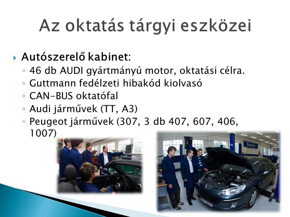  Autószerelő kabinet: ◦ 46 db AUDI gyártmányú motor, oktatási célra.