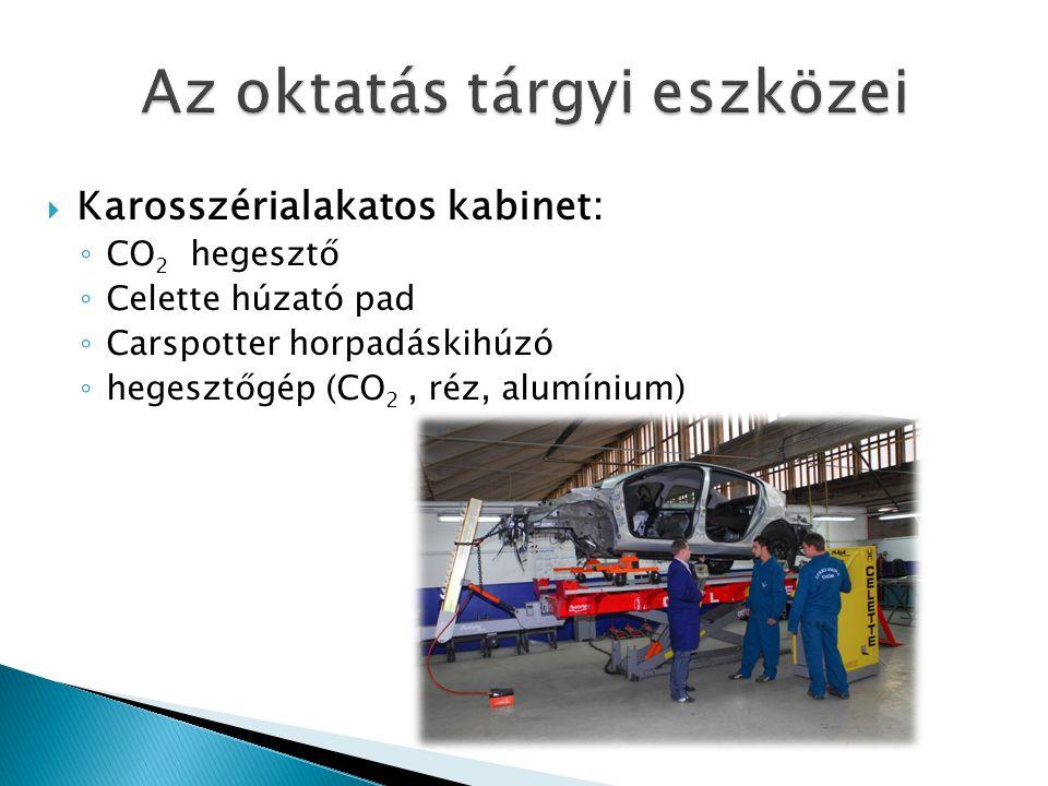  Karosszérialakatos kabinet: ◦ CO 2 hegesztő ◦ Celette húzató pad ◦ Carspotter horpadáskihúzó ◦ hegesztőgép (CO 2, réz, alumínium)