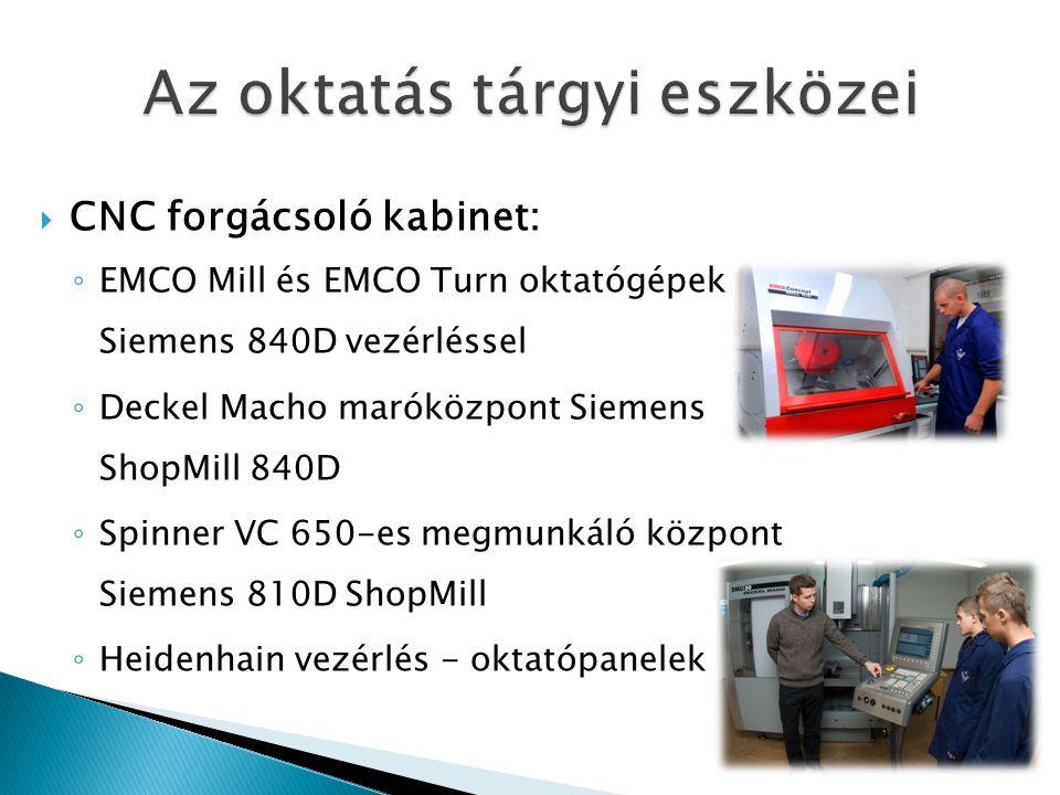  CNC forgácsoló kabinet: ◦ EMCO Mill és EMCO Turn oktatógépek Siemens 840D vezérléssel ◦ Deckel Macho maróközpont Siemens ShopMill 840D ◦ Spinner VC 650-es megmunkáló központ Siemens 810D ShopMill ◦ Heidenhain vezérlés - oktatópanelek