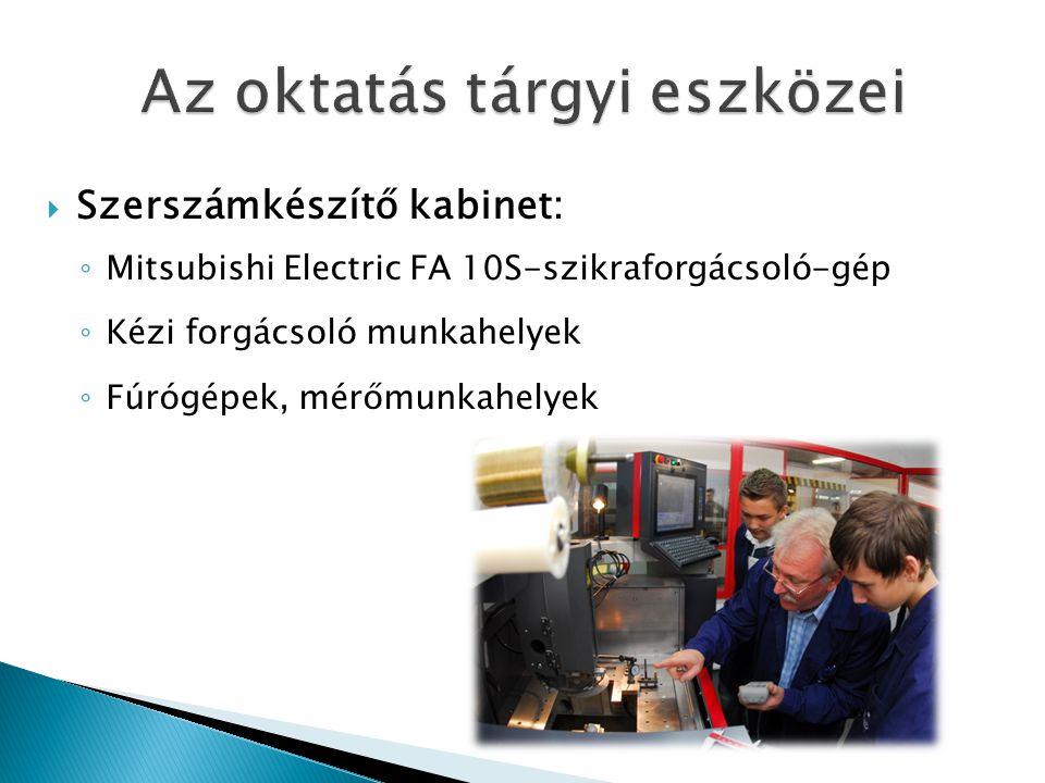  Szerszámkészítő kabinet: ◦ Mitsubishi Electric FA 10S-szikraforgácsoló-gép ◦ Kézi forgácsoló munkahelyek ◦ Fúrógépek, mérőmunkahelyek