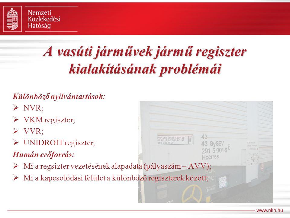 A vasúti járművek jármű regiszter kialakításának problémái Különböző nyilvántartások:  NVR;  VKM regiszter;  VVR;  UNIDROIT regiszter; Humán erőfo