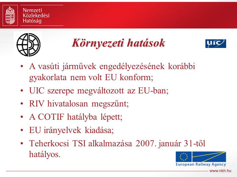 Környezeti hatások A vasúti járművek engedélyezésének korábbi gyakorlata nem volt EU konform; UIC szerepe megváltozott az EU-ban; RIV hivatalosan megs