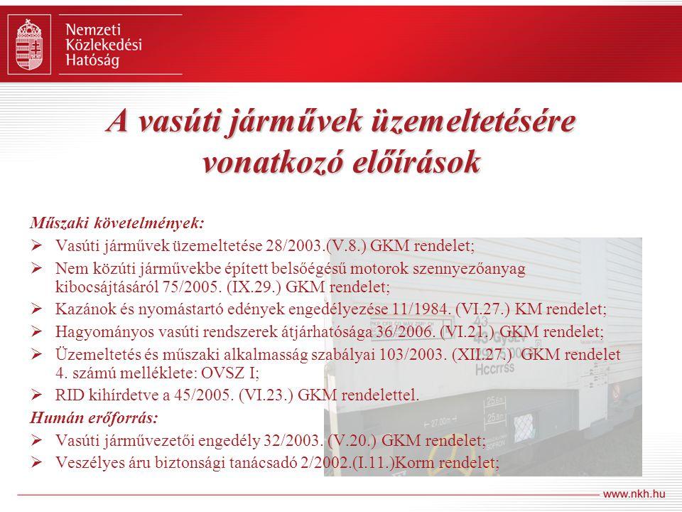 A vasúti járművek üzemeltetésére vonatkozó előírások Műszaki követelmények:  Vasúti járművek üzemeltetése 28/2003.(V.8.) GKM rendelet;  Nem közúti j