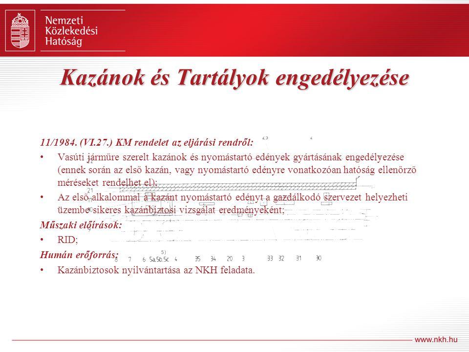 Kazánok és Tartályok engedélyezése 11/1984. (VI.27.) KM rendelet az eljárási rendről: Vasúti járműre szerelt kazánok és nyomástartó edények gyártásána