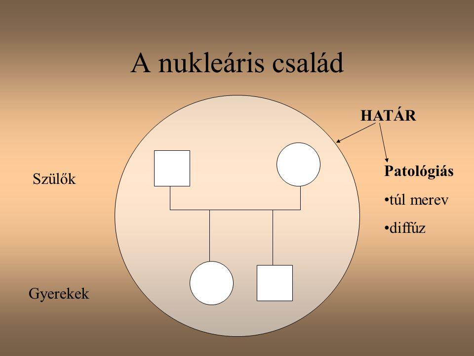 A nukleáris család Szülők Gyerekek HATÁR Patológiás túl merev diffúz