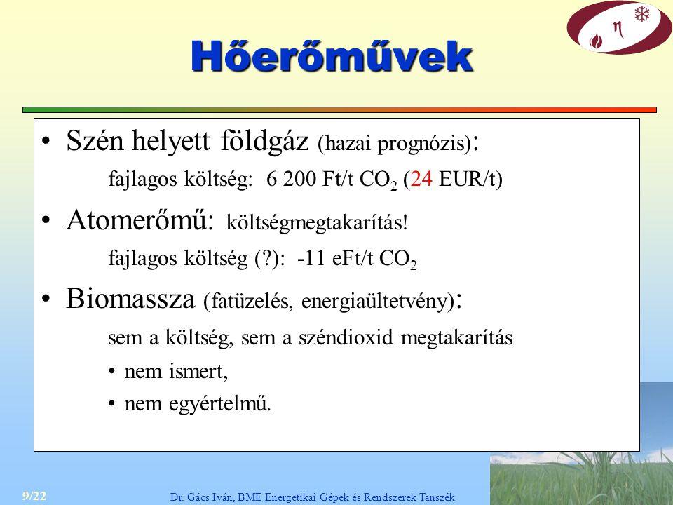 9/22 Dr. Gács Iván, BME Energetikai Gépek és Rendszerek Tanszék Hőerőművek Szén helyett földgáz (hazai prognózis) : fajlagos költség: 6 200 Ft/t CO 2
