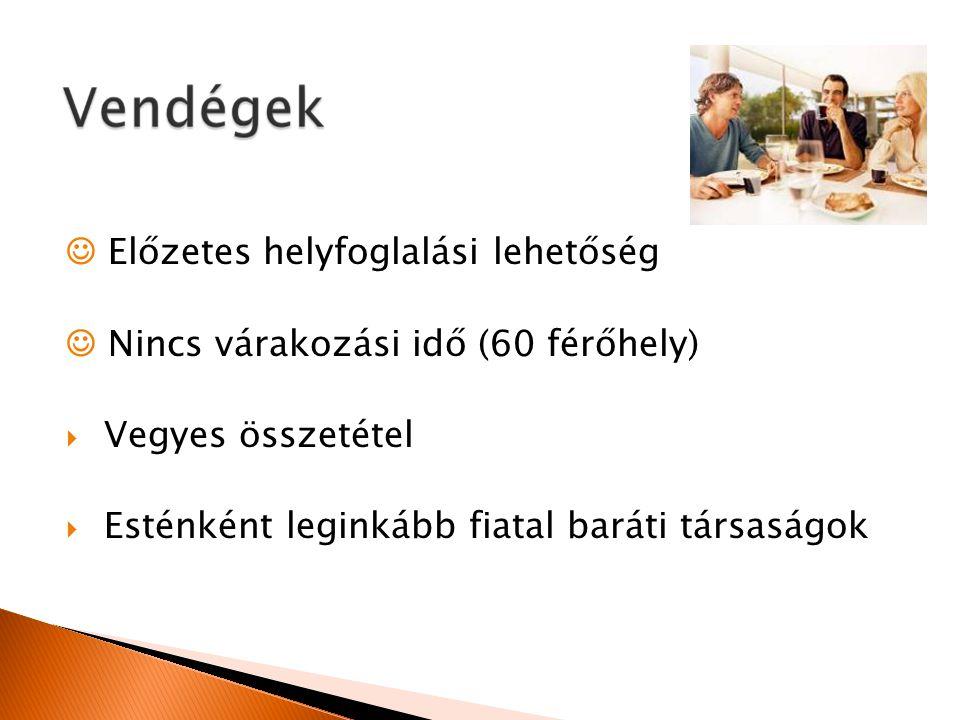 Előzetes helyfoglalási lehetőség Nincs várakozási idő (60 férőhely)  Vegyes összetétel  Esténként leginkább fiatal baráti társaságok