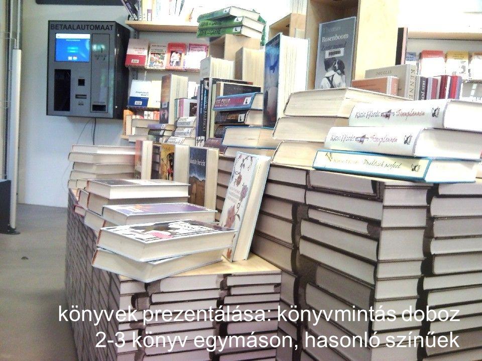 könyvek prezentálása: könyvmintás doboz 2-3 könyv egymáson, hasonló színűek