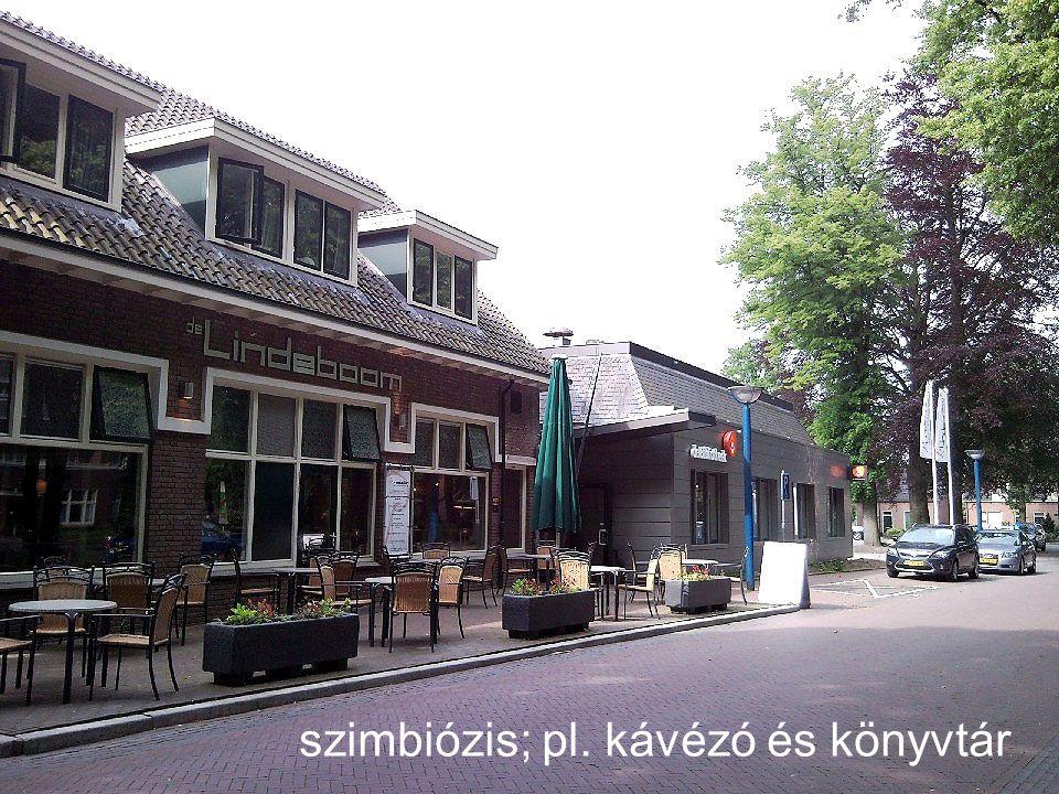 szimbiózis; pl. kávézó és könyvtár