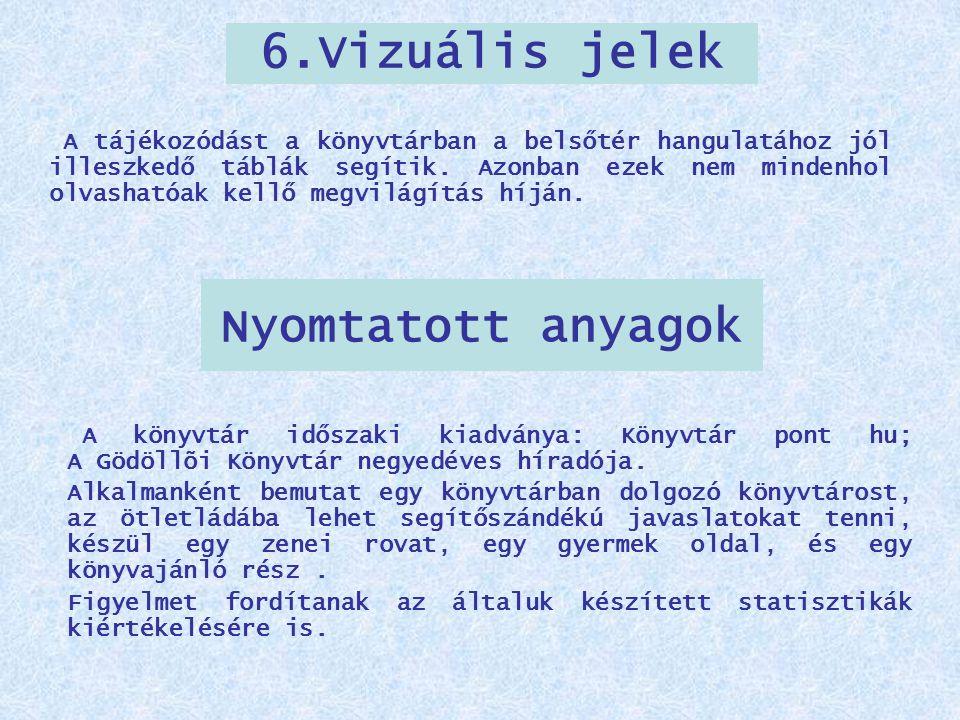 Nyomtatott anyagok A könyvtár időszaki kiadványa: Könyvtár pont hu; A Gödöllõi Könyvtár negyedéves híradója. Alkalmanként bemutat egy könyvtárban dolg