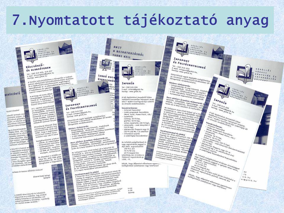 7.Nyomtatott tájékoztató anyag