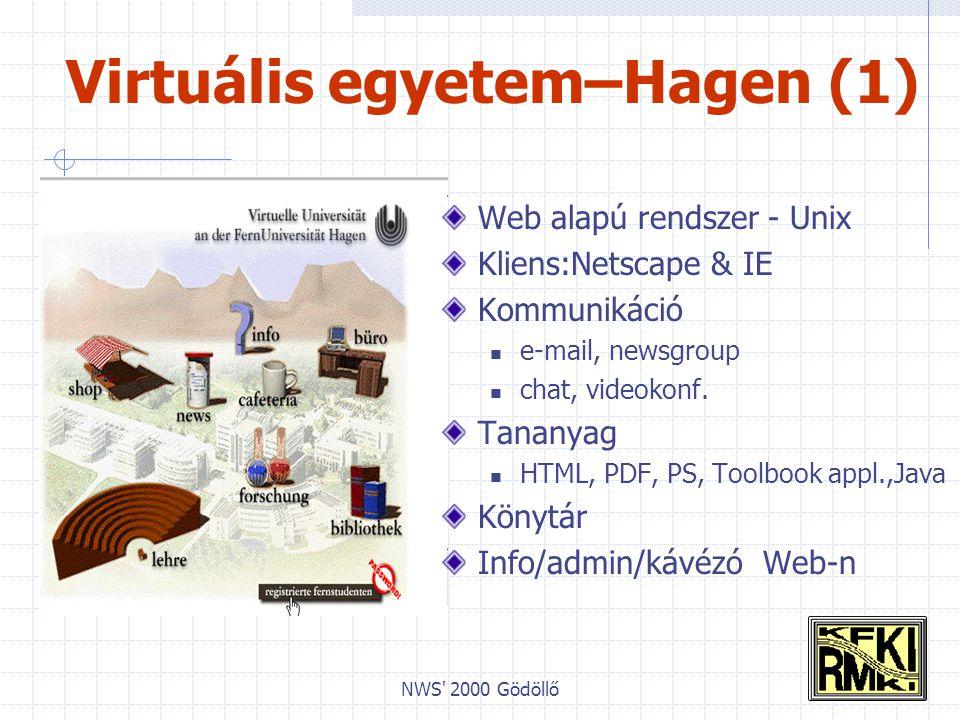 NWS 2000 Gödöllő Virtuális egyetem–Hagen (1) Web alapú rendszer - Unix Kliens:Netscape & IE Kommunikáció e-mail, newsgroup chat, videokonf.